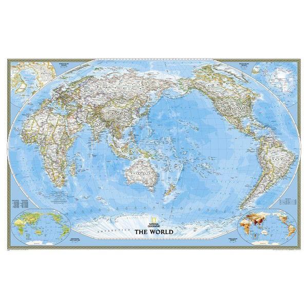 Cartina Mondo National Geographic.National Geographic Mappa Del Mondo Planisfero Politico Pacifico Centrico Laminato