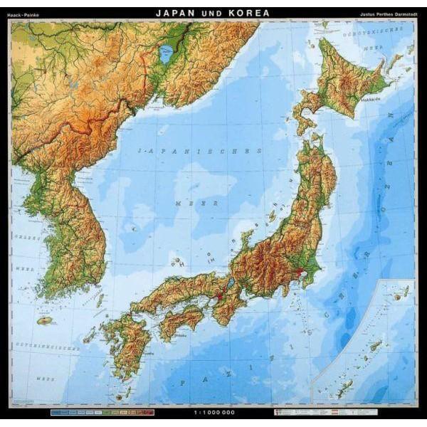 Japan Karte Physisch.Klett Perthes Verlag Landkarte Japan Und Korea Physisch