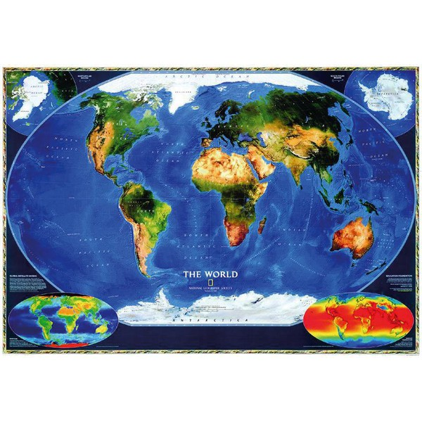 Cartina Satellitare Mondo.National Geographic Mappa Del Mondo Planisfero Satellitare