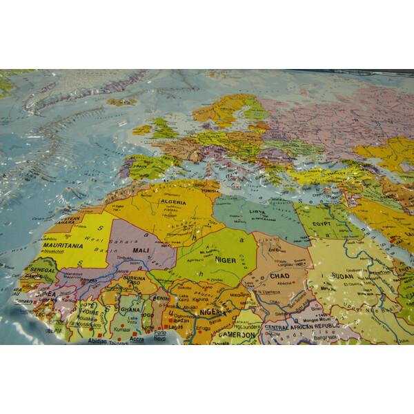 Cartina Del Mondo On Line.Geo Institut Mappa Del Mondo Planisfero Carta Politica In Rilievo Silver Line Inglese
