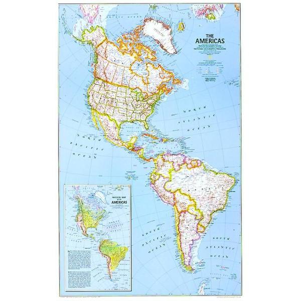 National Geographic Mapa Kontynentow Ameryka Polnocna I Poludniowa