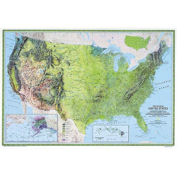 Cartina Fisico Politica Degli Stati Uniti.National Geographic Mappa Carta Degli Usa Fisica