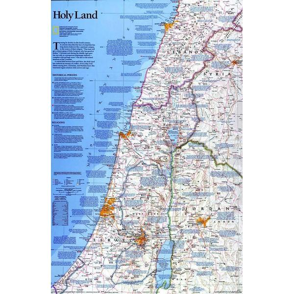National Geographic Regionale Kaart Het Heilige Land Engels