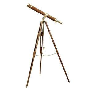 The Glass Eye Brass telescope Cape Cod Designer Series Tripod made of Teak