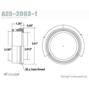 """Starlight Instruments Adattatore 2.5"""" - filetto maschio 95x1mm, 0.9"""" L (questo è il nostro FTF25 Serie Teflon-Coupled Collar)"""