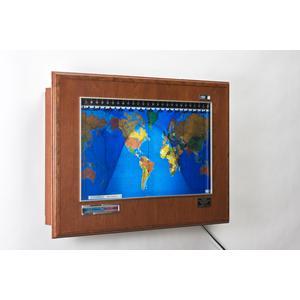 Geochron Boardroom de madera de cerezo con marco plateado