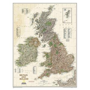 National Geographic Mappa Carta antica delle Isole Britanniche e dell'Irlanda