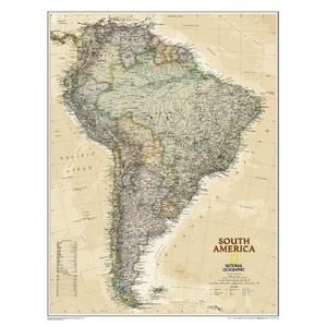 National Geographic Mappa Continentale Carta antica del Sud America