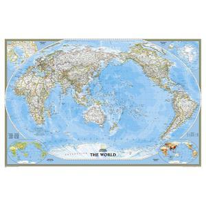 National Geographic Mappa del Mondo Planisfero politico pacifico-centrico