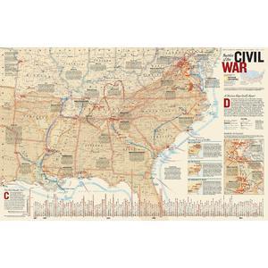National Geographic Mappa Guerra civ. americana, fronte/retro