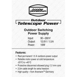 Baader Fuente energética Cable de suministro eléctrico para uso en exteriores Outdoor Telescope Power Supply 12,8V / 1,5A 19W con conexión en ángulo recto