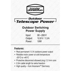 Baader Trasformatore Alimentatore switch mode Outdoor Telescope Power 12,8V / 1,5A 19W con spina ad angolo