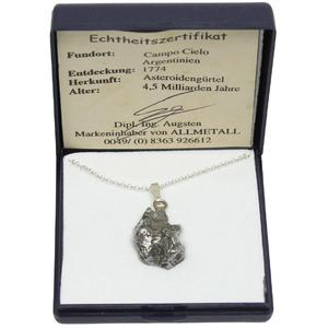 Campo del Cielo iron meteorite on silver chain