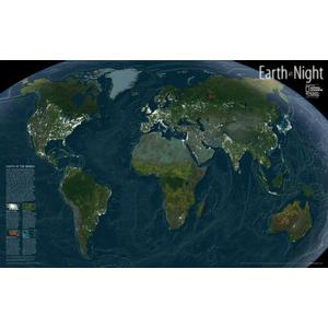 National Geographic La Terra di notte - Mappa da parete laminata