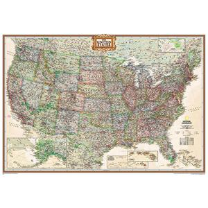 National Geographic The antique USA map politically, largely laminates