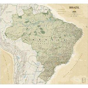 National Geographic Antica mappa del Brasile laminata