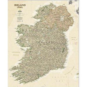 National Geographic Antica mappa dell'Irlanda laminata