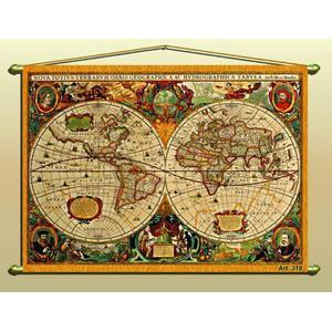 Zoffoli Weltkarte Antike Karte (Reproduktion) Nr. 318/2