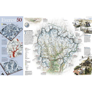 National Geographic Map Mount Everest, 50th Anniversary - 2-seitig