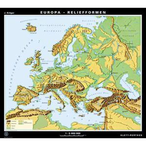 Klett-Perthes Verlag Kontinent-Karte Europa Relief- / Landschaftsformen (P) 2-seitig