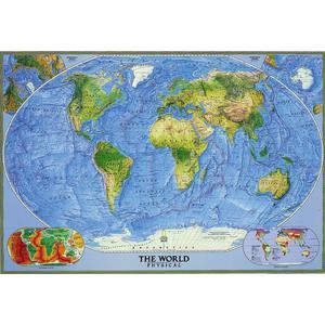 National Geographic Physische Weltkarte mit Meeresrelief