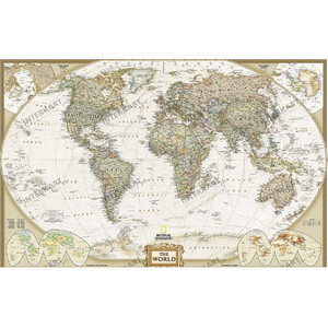 "National Geographic Mappa del Mondo Planisfero antico ""Executive"""