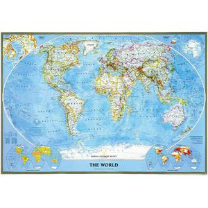 Mappemonde National Geographic Classic political world map, for pinning, framed (silver)