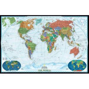 National Geographic Dekorative Weltkarte politisch, groß, laminiert
