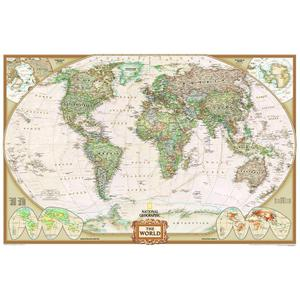 National Geographic Antique map of the world largely laminates