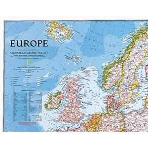 National Geographic Continent map Europe politically largely laminates