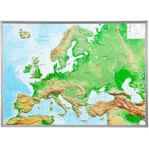 Georelief Europa groß, 3D Reliefkarte mit Alu-Rahmen