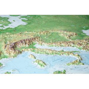 Georelief Kontinent-Karte Europa groß, 3D Reliefkarte mit Alu-Rahmen
