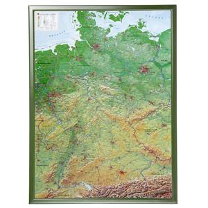 Georelief Landkarte Deutschland groß, 3D Reliefkarte mit Holzrahmen