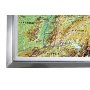 Georelief Landkarte Deutschland groß, 3D Reliefkarte mit Alu-Rahmen