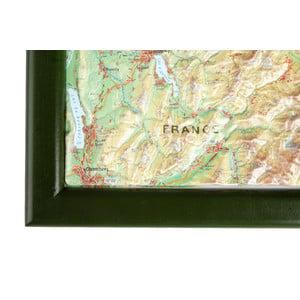 Georelief Large 3D relief map of Switzerland in wooden frame (in German)