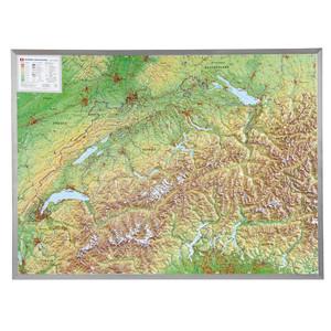 Georelief Landkarte Schweiz groß, 3D Reliefkarte mit Alu-Rahmen