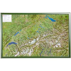 Georelief Landkarte Schweiz mit Luftbild mit Holzrahmen
