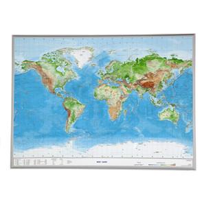 Georelief Weltkarte Welt groß, 3D Reliefkarte