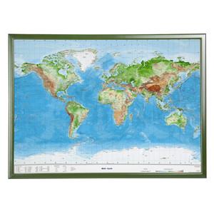 Georelief Welt groß, 3D Reliefkarte mit Holzrahmen