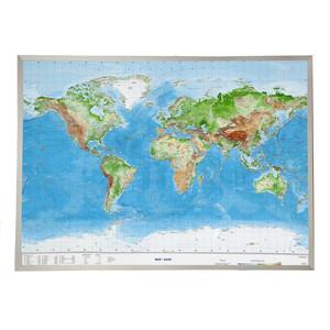 Georelief Welt groß, 3D Reliefkarte mit Alu-Rahmen