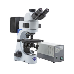 Optika Microscopio Mikroskop B-383FL-EUIV, trino, FL-HBO, B&G Filter, N-PLAN, IOS, 40x-1000x, EU, IVD