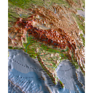 geo-institut Mappa del Mondo Planisfero, carta fisica in rilievo Silver line, inglese