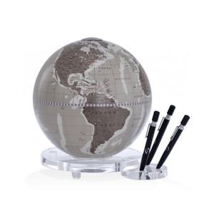 Zoffoli desk globe Balance warm grey with pen holder 22cm