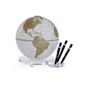 Zoffoli Desk Globe Balance white/ gold with pen holder