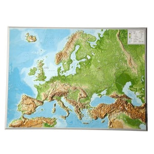 Georelief European relief map, large, 3D