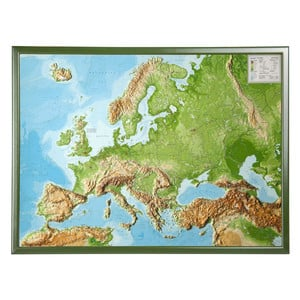Georelief European relief map, large, 3D, with wooden frame