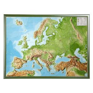 Georelief Mappa Continentale Europa, carta in rilievo grande con cornice in legno, INGLESE