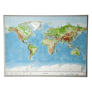 Georelief Weltkarte Welt groß, 3D Reliefkarte, ENGLISCH