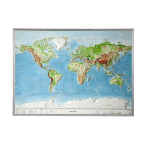 Georelief World relief map, large, 3D, with aluminium frame