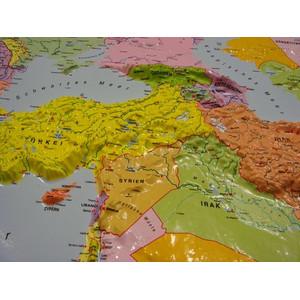 geo-institut Weltkarte Reliefkarte Welt Silver line politisch